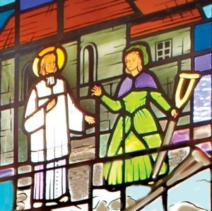 Saint John Vianney Heals Crippled Girl - Detail of Stained Glass Window at Saint John Vianney Church, Johnstown, PA