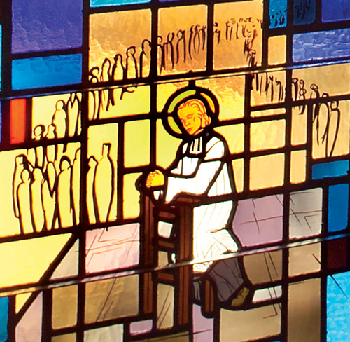 Saint John Vianney at Prayer - Detail of Stained Glass Window at Saint John Vianney Church, Johnstown, PA