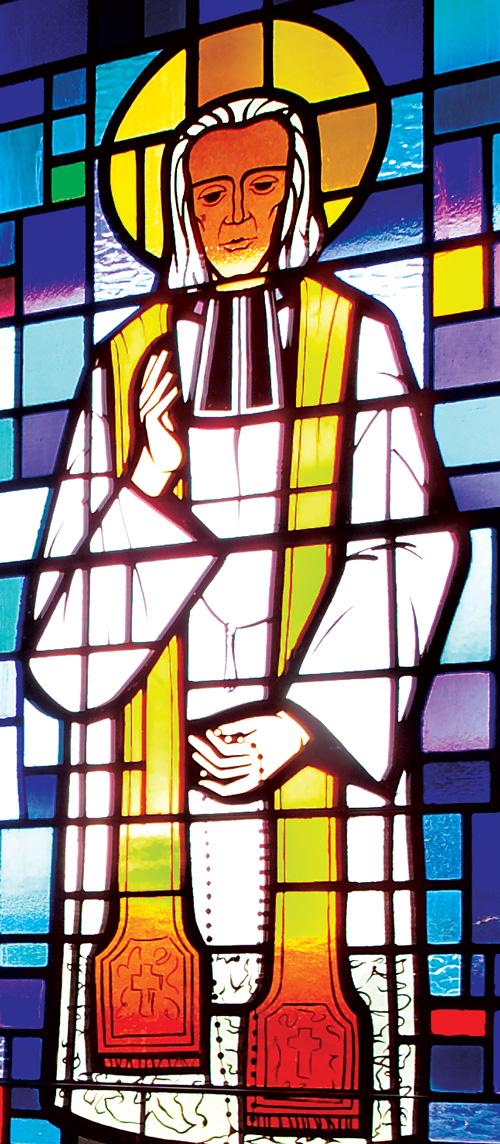 Saint John Vianney prays Rosary - Detail of Stained Glass Window at Saint John Vianney Church, Johnstown, PA