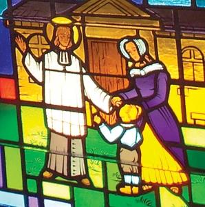 St. John Vianney Blesses an Orphan - Detail of Stained Glass Window at Saint John Vianney Church, Johnstown, PA
