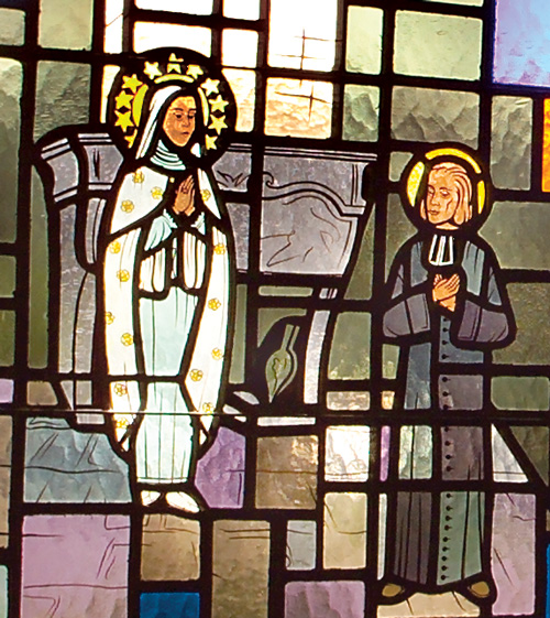 Virgin Appears to Saint John Vianney - Detail of Stained Glass Window at Saint John Vianney Church, Johnstown, PA