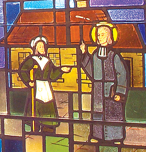 Detail of Stained Glass Window at Saint John Vianney Church, Johnstown, PA