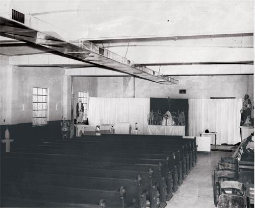 Interior first church building, Saint John Vianney Parish