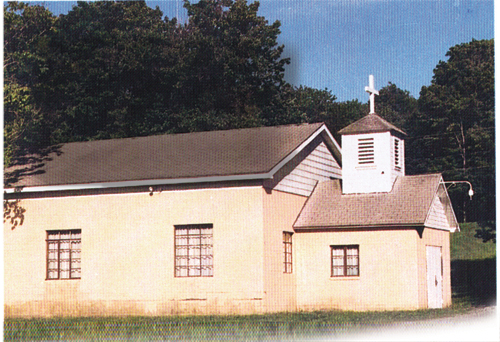 Photo of first church building of Saint John Vianney parish
