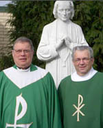 Father Andrew Stanko and Deacon Tom Buige with Statue of Saint John Vianney,