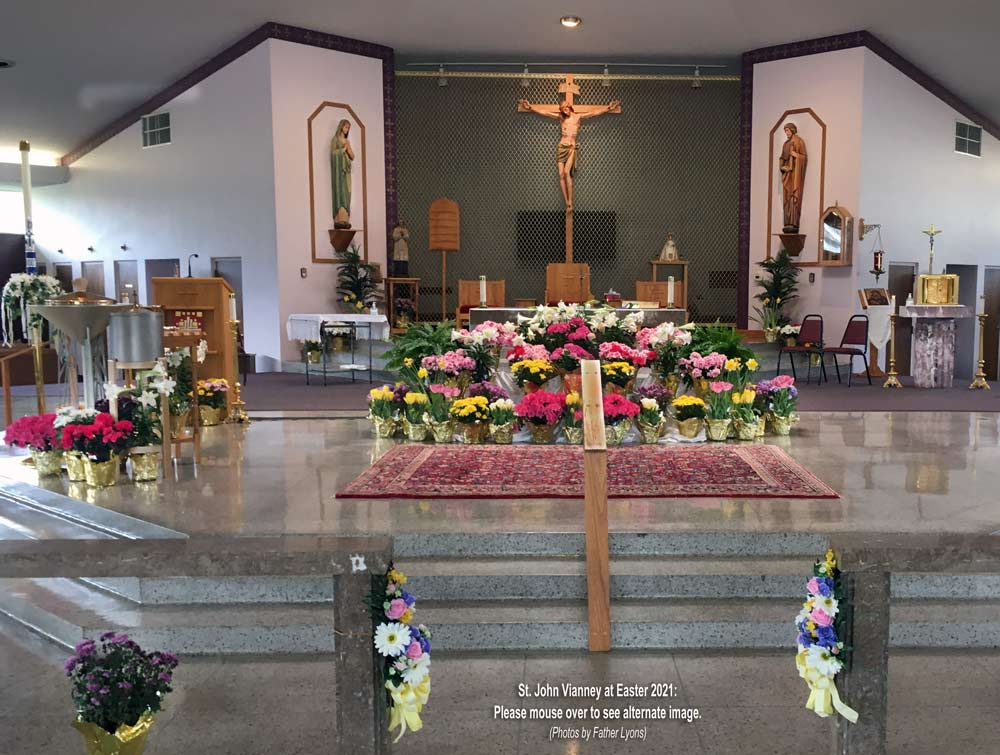 St. John Vianney Altar at Easter 2021 - Wide