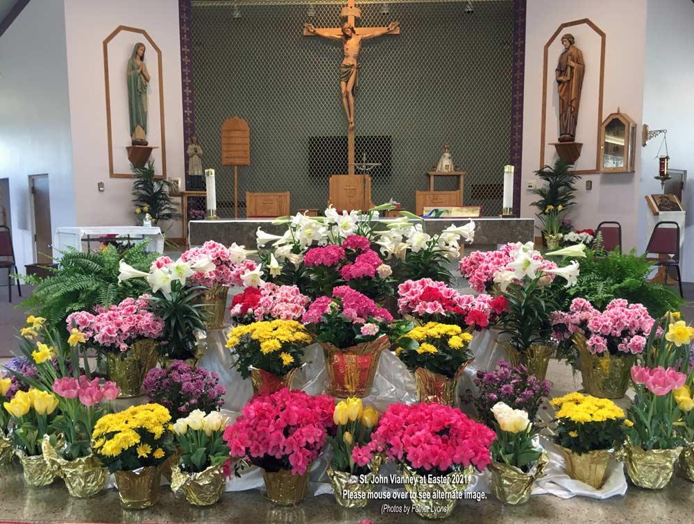 St. John Vianney Altar at Easter 2021